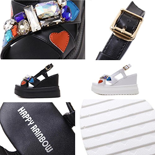 PBXP 5 cm Piattaforma Wedge 10.5 cm Heel Colorful Strass Decorazioni Sling-back Cinture Fibbia Outsoles antiscivolo Sandali Donna Elegante , black , 37