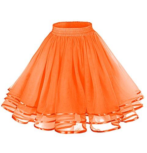 LaceLady Women's Vintage Petticoat Tutu Underskirt Crinoline Dance Slip With Belt Orange S -