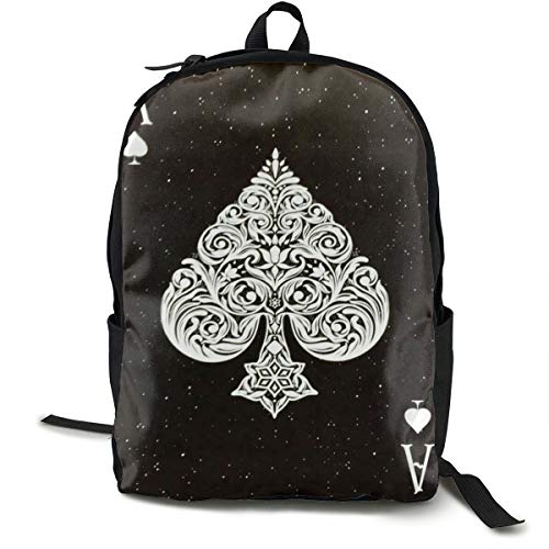 (Backpacks Ace Of Spades Poker Card Style Black School Bag Travel Daypack Shoulder)