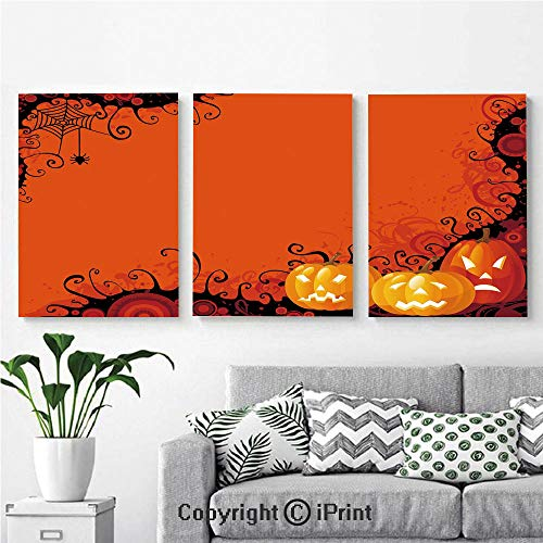 Wall Art Decor 3 Pcs High Definition Printing Three Halloween Pumpkins Abstract Black Web Pattern Trick or Treat Decorative Painting Home Decoration Living Room Bedroom Background,16