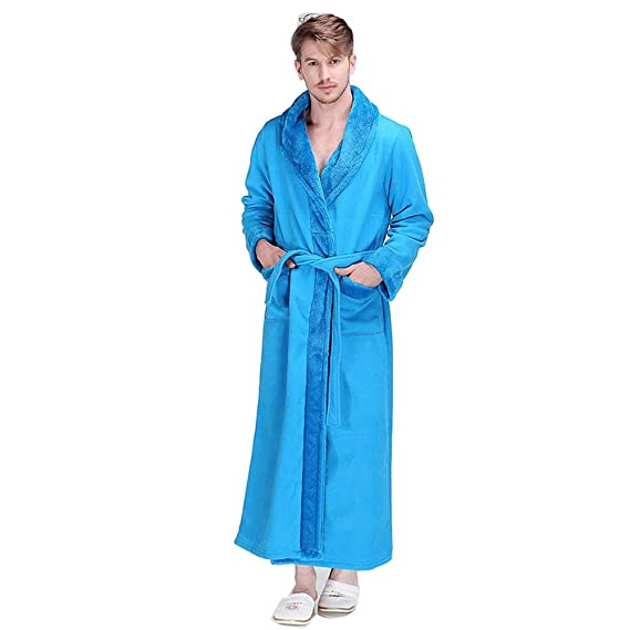 Amazon.com: Elegant Thicked Bathrobe for Men Coral Fleece Dressing Gown Sauna Gown (Color : Dark Blue, Size : XL): Home & Kitchen