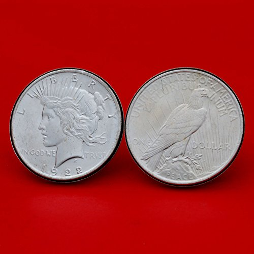 US 1922 Peace Silver Dollar BU Uncirculated Silver Cufflinks NEW - OBVERSE + REVERSE by jt6740