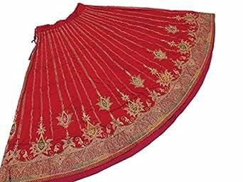 "NovaHaat Lust Red Bollywood Long Skirt - Zari Embroidered Indian Dress 36"""