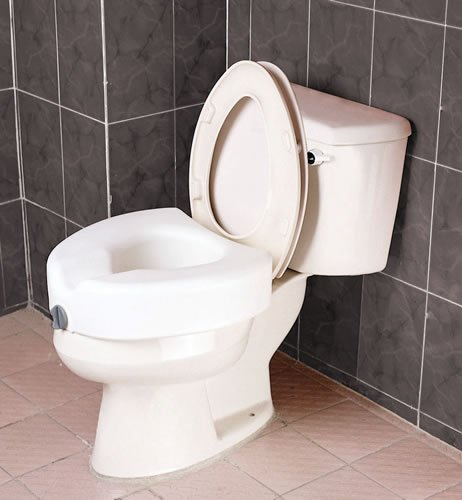 Raised Toilet Seat - Blow molded locking raised toilet seat without arms has front clamping mechanism ensures secure easy locking onto toilet. Height 7'', width 21'', depth 17''. Weight capacity of 300lbs. by King Of Canes