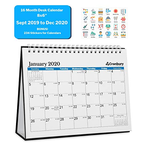 Small Desk Calendar 2020 (8x6, Blue) 16 Months, Use Desktop Calendar from September 2019 to December 2020, Double-Sided Tent Standing Easel Flip Calendar for Table, Counter Top (The Best Desktop 2019)
