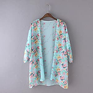 Women Sweater Coat,Beautyvan Women Boho Floral Printed Chiffon Shawl Kimono Cardigan Tops (M, Blue)