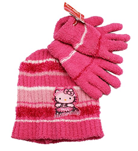 Sanrio Light Pink Hula Girl Hello Kitty Winter Set (2pc) - Hello Kitty Beanie and Mittens ()