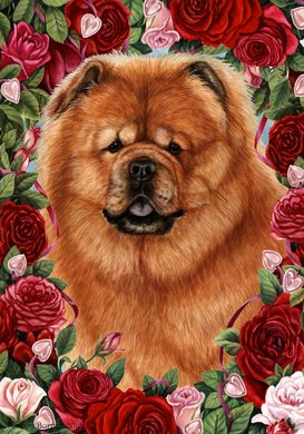 Chow Chow Black - Tamara Burnett Valentine Roses Garden Flag (Chow Garden Flag)