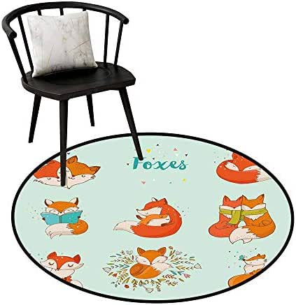 Round Area Rug Fox Lovely Fox Characters Sleeping Reading Romantic Couple Nature Collection Kids Comic Soft Area mats D39.3 Multicolor
