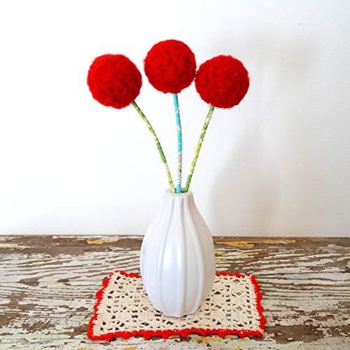 Red Yarn Pom Pom Felt Flowers. Cherry Red floral bouquet. Holly. Felted Wool Balls. Faux Fake Flower. Retro, Atomic, Modern Arrangement