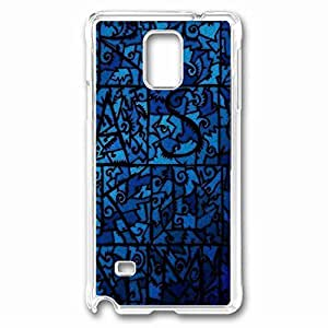Blue Stained Glass Custom Back Phone Case for Samsung Galaxy Note 4 PC Material Transparent -1210266