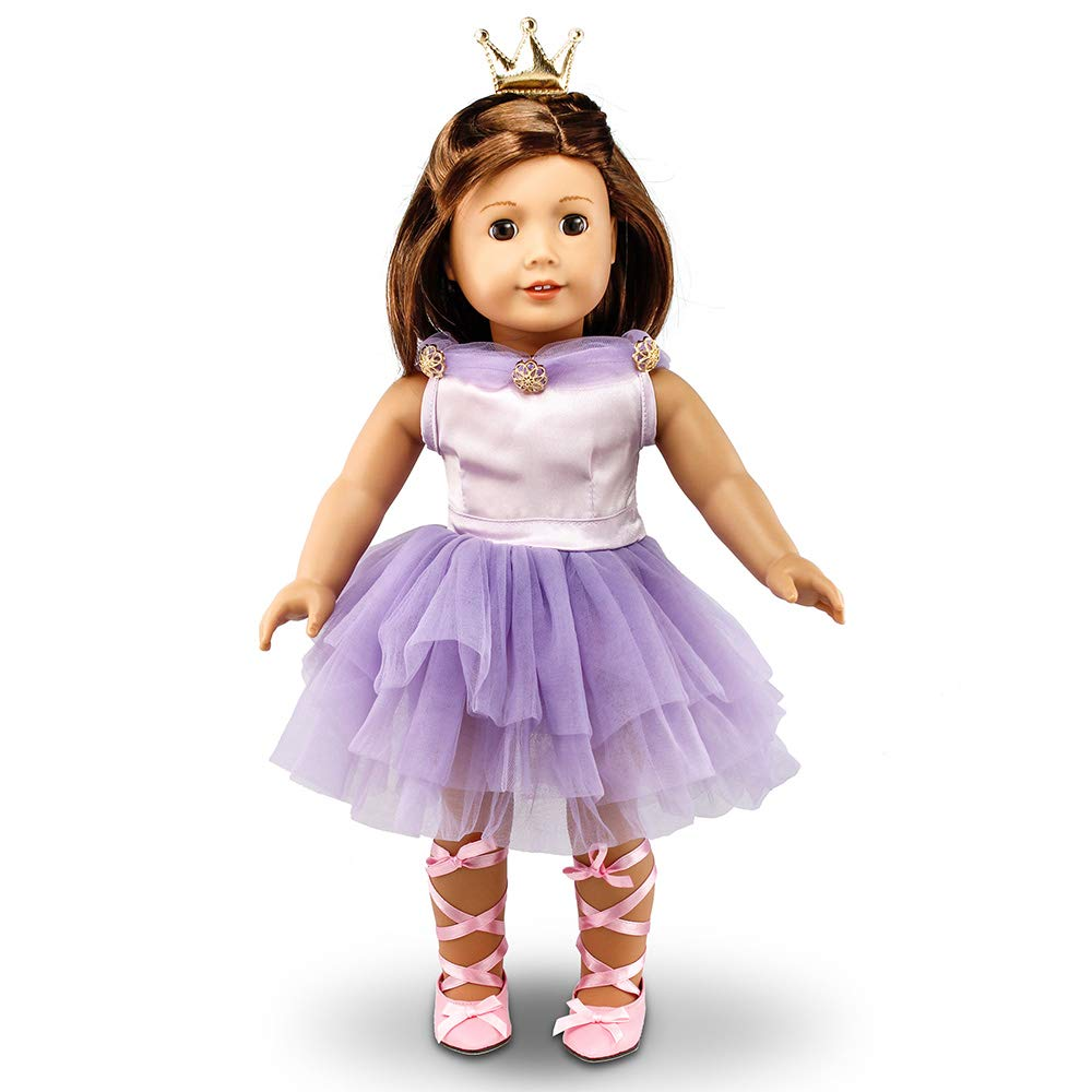 Oct17 Fits Compatible with American Girl 18 Ballet Outfit 18 Inch Doll Clothes Accessories Costume Set Purple Dress Golden Crown Pink Ballet Shoes