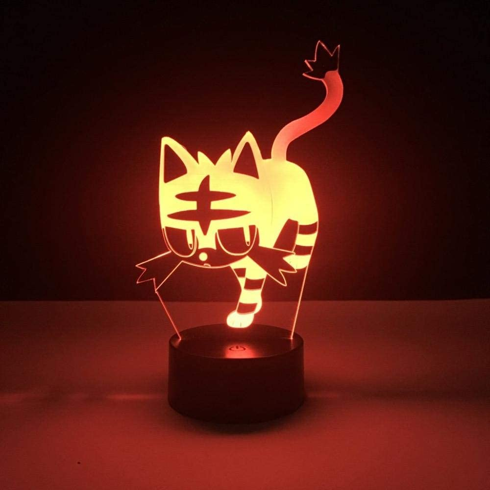 Pokemon GO Litten 3D Acrylic LED Night Light USB Touch Base Desk Lamp Gifts UK