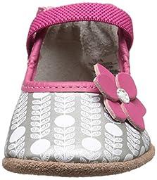 Robeez Becca Mary Jane Soft Sole Crib Shoe (Infant), Grey, 6-12 Months M US