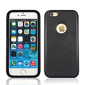 YCAun® Dual Layer Rugged Defender Case Skin for iPhone 6 4.7 inch Hybrid Impact Shockproof Hard Plastic with Soft Silicone Case Cover 2 in 1 (Black -Black)