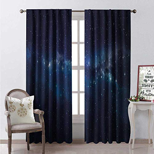 Hengshu Star Window Curtain Fabric Deep in The Mysterious Space Theme Dark Blue Midnight Sky Celestial Inspirational Drapes for Living Room W84 x L96 Indigo - Screen Celestial Fireplace