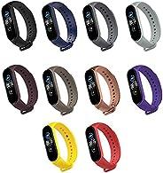 RUIMING 10 cores pulseira para Xiaomi Mi Band 6, pulseira de substituição de silicone macio ajustável esporte
