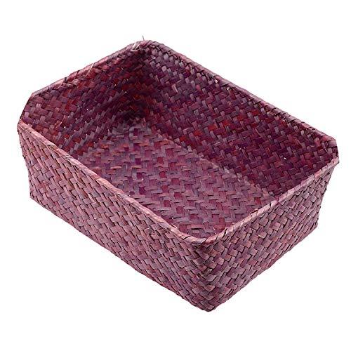 Wicker Weave Storage Basket for Kitchen Fruit Dish Food Bread Loaf Sundries Neatening Rattan Picnic Container Storage Case,Dark Coffee,S (Basket Crossword Wicker Clue)