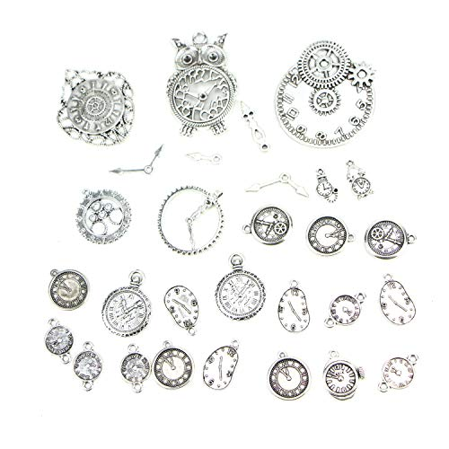 Monrocco 100 Gram Antique Silver Plated Vintage Clocks and Watches Dial Face Charm Pendants for DIY Crafts DIY Jewelry Making Accessories