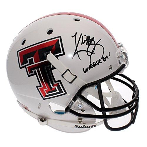 """Kliff Kingsbury Signed Full Size Replica White Alternate Helmet - """"Wreck Em"""" - Texas Tech Red Raiders - JSA Certified"""
