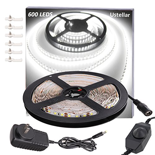 Ustellar Dimmable 600 LED Light Strip Kit with Power Supply, SMD 2835 LEDs, Super Bright 16.4ft/5m 12V LED Ribbon, Non-waterproof, 6000K Daylight White Under Cabinet Lighting Strips, LED Tape