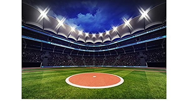American Soccer Stadium Nightscape 10x6.5ft Polyester Photography Background Bright Spotlights Football Court Sports Theme Backdrop Child Adult Sportsman Portrait Shoot Birthday Banner Wallpaper