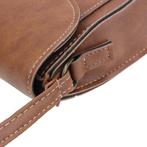 PU Crossbody Mini Shoulder Demiawaking Leather New Flip Brown Fashion Women Vintage Bag Lock twSZq