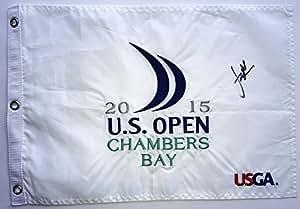 Jordan Spieth signed 2015 u.s. open flag chambers bay autographed usga