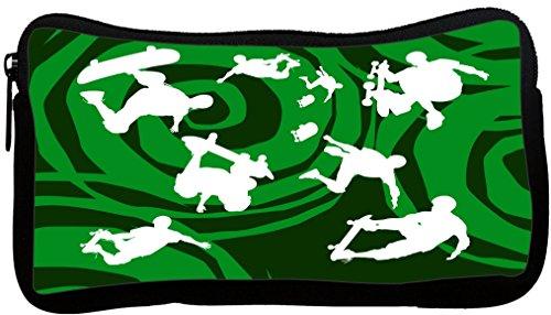 UPC 638050722629, Rikki Knight Skateboarding on Green Psychedelic Design Neoprene Pencil Case (pc879)