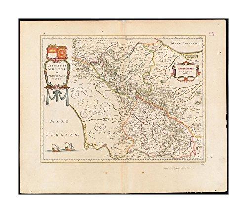 Map Of Italy Abruzzo Region.Galleon 1640 Map Italy Abruzzi Contado Di Molise Et Principato