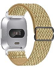 Vozehui Bandje, compatibel met Fitbit Versa Lite/Fitbit Versa 2/versa, verstelbare rekbare ademende zachte nylon sportband, vervangende band voor Fitbit Versa 2/Versa Lite/Fitbit Versa, dames en heren