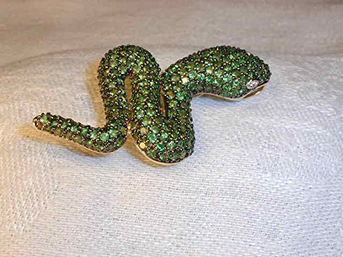Outstanding 14K Gold Green Garnet Tsavorite Diamond Snake Brooch Pendant Pin by GEMSforyou