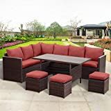 Wisteria Lane Patio Furniture Set,10 PCS Outdoor Conversation Set All Weather Brown Wicker Sectional Sofa Couch Dining Table Chair with Ottoman,Wine Red Cushion