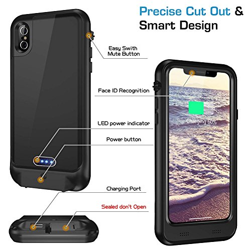 iPhone X Waterproof Battery Case Qi Wireless Charging Compatible,Vapesoon 5.8-inch 3400mAh Slim Rechargeable Extended Protective Portable Charger Case for iPhone X – Black by Vapesoon (Image #4)
