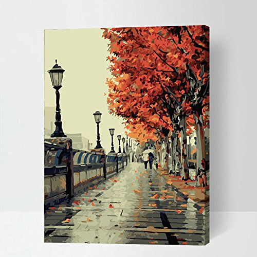 Diy oil painting, paint by number kit- Romantic love autumn 1620 inch gift for Kids & Child (Frameless) by Faraway (Image #5)