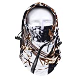 Balaclava 6 in 1 Headwear Warm Fleece Full Face Mask for Hiking, Ice Fishing, Climbing, Ultimate Protection from Cold, Wind, Dust, Snow and Sun UV Size Free White Brown