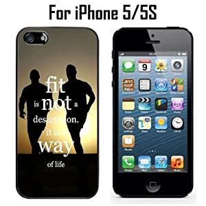FItness Quote Running Custom Case/ Cover/Skin *NEW* Case for Apple iPhone 5/5S - Black - Hard Case (Ships from CA) Custom Protective Case , Design Case-ATT Verizon T-mobile Sprint ,Friendly Packaging - Slim Case