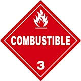 Combustible 3-10.75'' x 10.75'' Vinyl DOT HazMat Placard (Pack of 25)