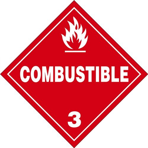 Combustible 3-10.75'' x 10.75'' Vinyl DOT HazMat Placard (Pack of 25) by HCL
