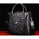 新品 ワニ革 クロコダイルレザー ビジネスバッグ 本革 鞄 メンズバッグ 大容量 多機能 ブラック 黒