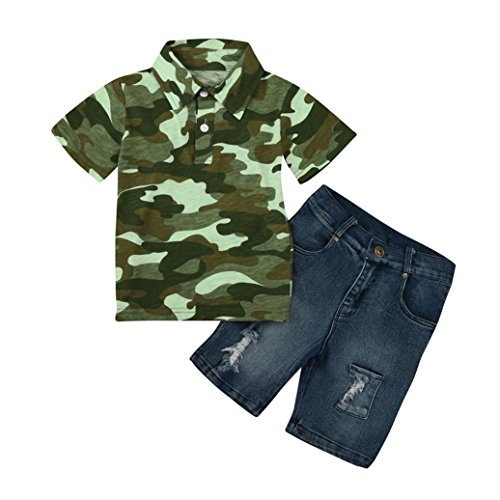 2 - 7 Years old Odeer 2017 Autumn Fashion Toddler Kids Baby Boy Camouflage T-Shirt Tops Demin Pants Outfits Cotton Casual Clothes Set Camouflage (4 - 5 Years old) (Hello Kitty Wedding Dress)
