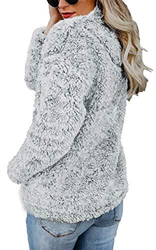 Grey Womens 174 Hoodies Zip Silver Up Outwear 4 1 Angashion Long Faux Pocket Fleece Sweatshirt Sleeve Pullover Coat with Tops HBxwPYTqd
