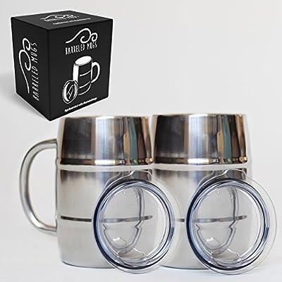 Stainless Steel Beer Mug w/ Bonus Lid, 17oz Dual Wall Air Insulated Beer & Beverage Mug / Coffee Cup - Keep Your Beer Colder & Coffee Hotter Longer - A Mans Mug