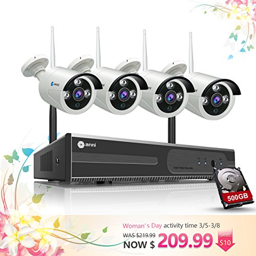 anni 4CH 720P HD NVR Wireless Security CCTV Surveillance Systems, Wifi NVR Kit and (4) 1.0MP Megapixel Wireless Indoor Outdoor Bullet IP Cameras, P2P, 65ft Night Vision with 1TB Hard Drive by anni
