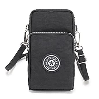 Multifunctional Mini Zipper Waterproof Nylon 3 Layers Storage Crossbody Wrist Shoulder Bag Mobile Phone Pouch Belt Handbag Armband Case for iPhone 7 6/6S Plus / 5S/5C / Samsung S8 S7 S6 Edge+ (Black)