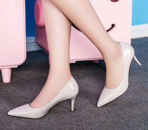 Chfso Womens Trendy Stiletto Solid Candy Couleur Bout Pointu Slip Sur Bas Top Chaton Pompes Talon Gris