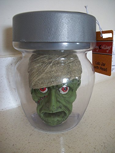 [LED Lab Jar with Mummy Head Animated Halloween Prop - Lights Up with Spooky Phrases] (Animated Mummy Head In A Jar Prop)