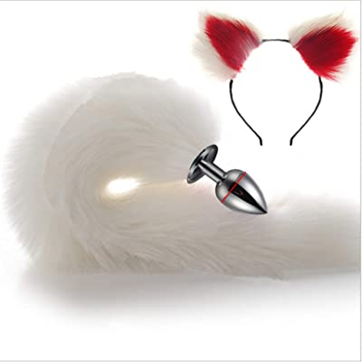Make life wonderful White Three Sizes Fluffy Faux Fox Tail & Cat Ears Headband Charms Role Play Costume Party Masquerade Cosplay Prop (White & Red, M): Toys & Games