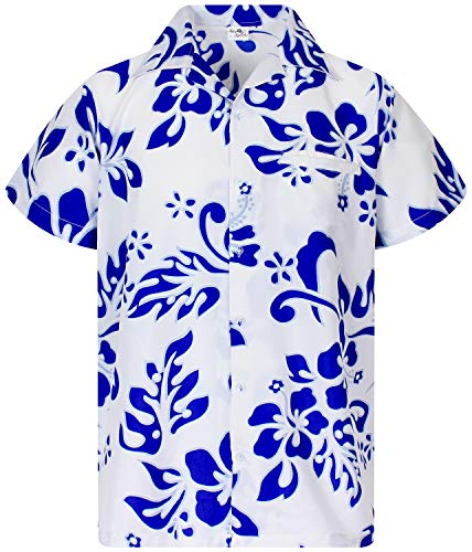 Funky Hawaiian Shirt, Shortsleeve, Hibiscus, Indigoblue on White, M
