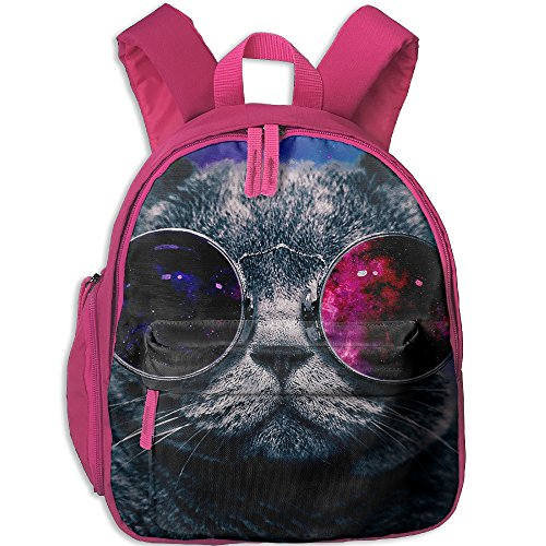 Galaxy Hipster Cat Kid's School Bag Have Double Zipper - Ditka Glasses